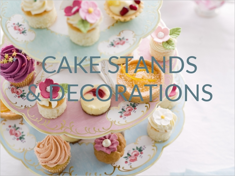 cake stands and cake decorations