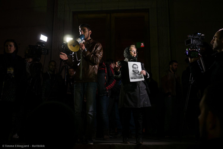 activists and widow commemorating Artur Sargsyan