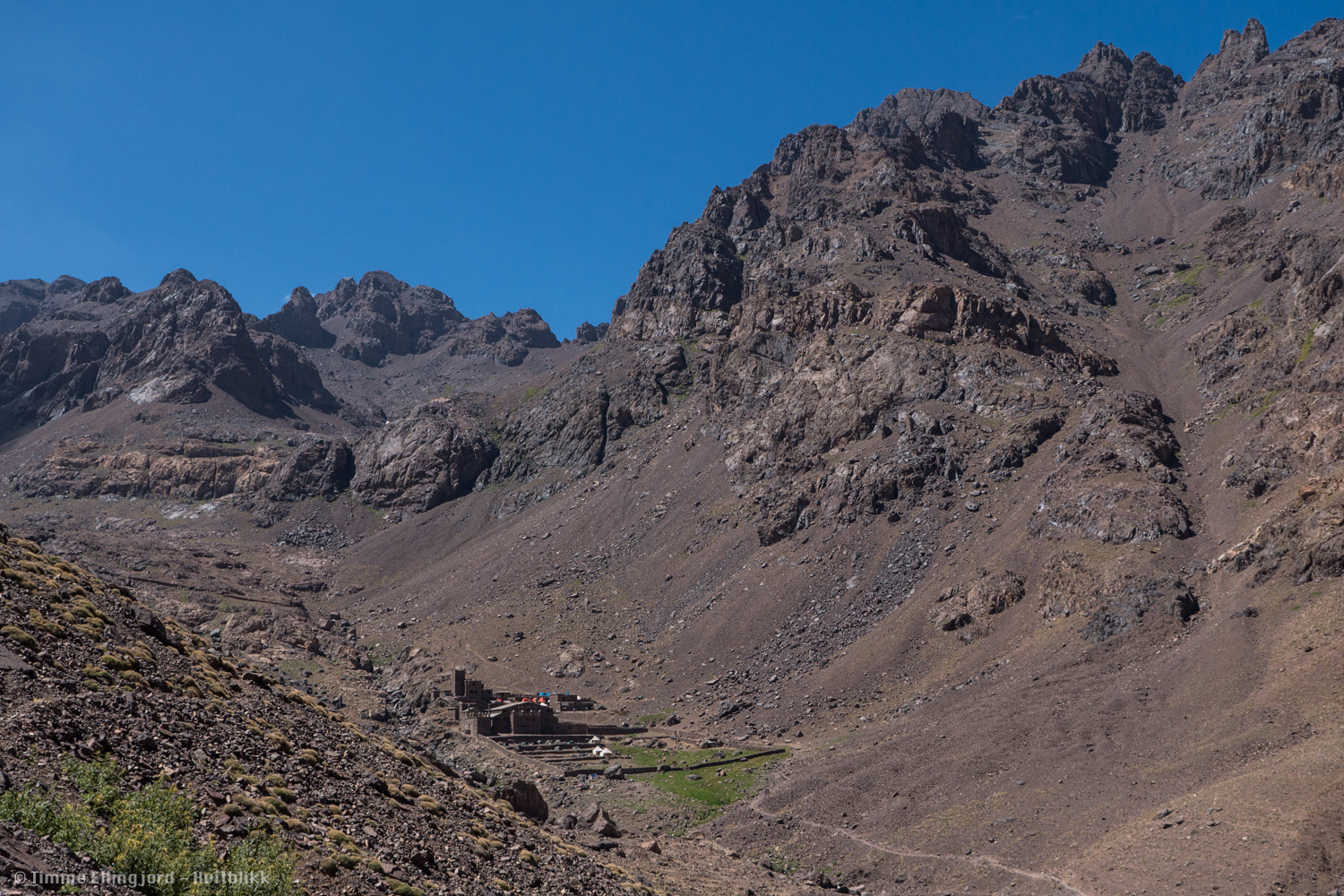 The french alpine clubs mountain refuge, at the foot of Jebel Toubkal. The refuge was taken by an avalanche some years ago, but are still an popular destination both winter and summer.