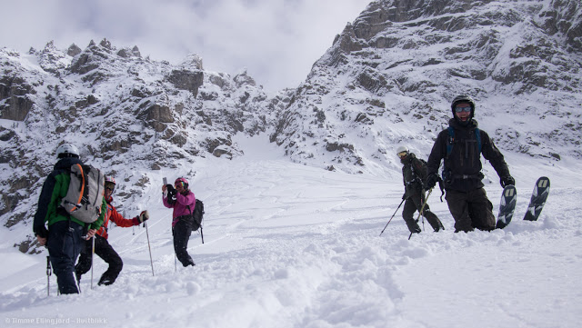 Happy hippos just finishing the Couloir filled with pow