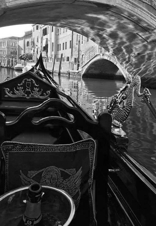 venice in a row gondola alex hai bn.jpg