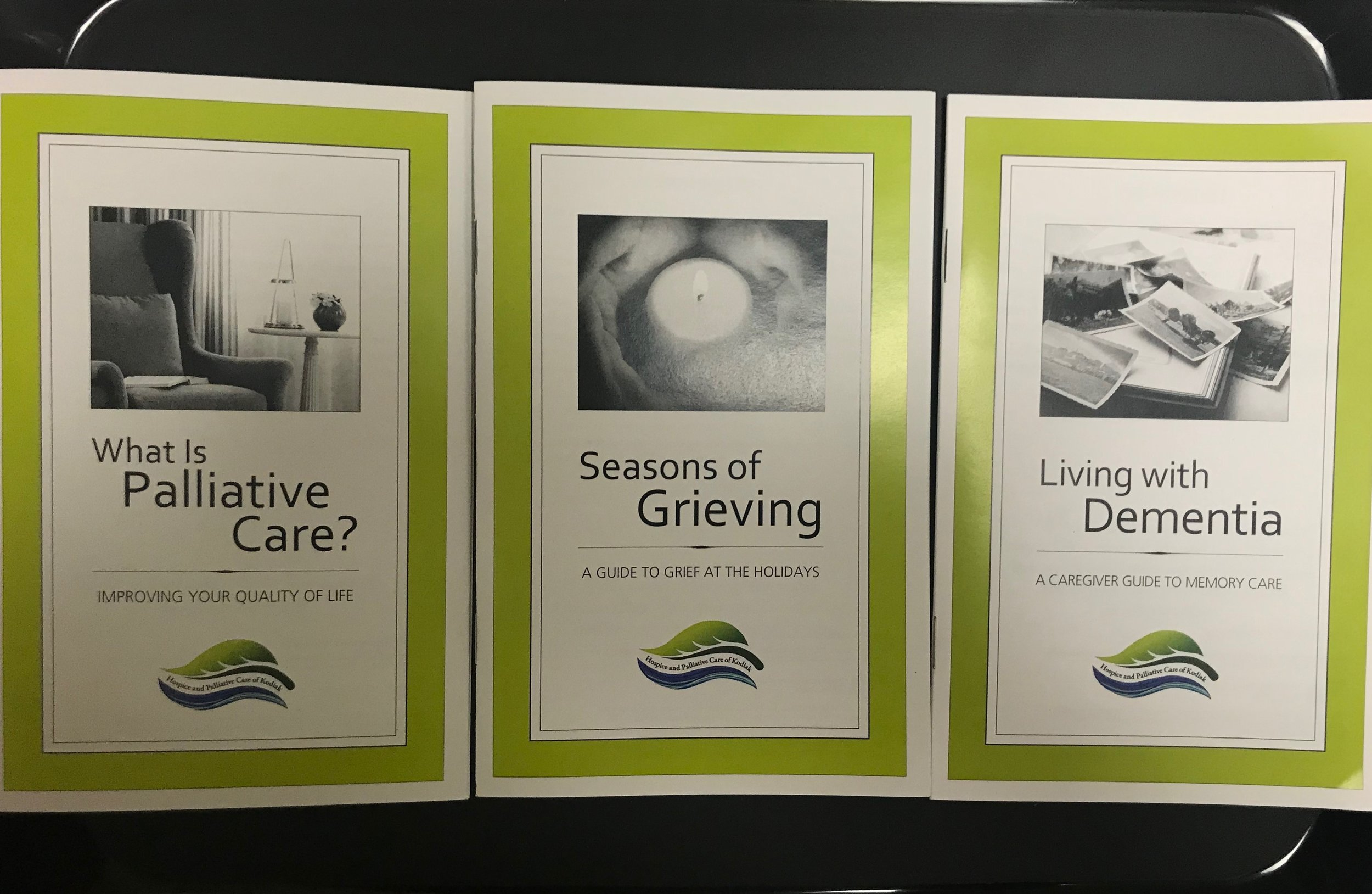 We stock Quality of Life booklets on Palliative Care, Seasons of Grieving, and Living with Dementia. These booklets are a great resource.