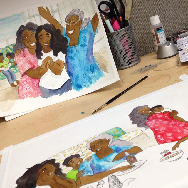 Monday. #workgrind #watercolor #illustration #childrensbookart #wip #niihau