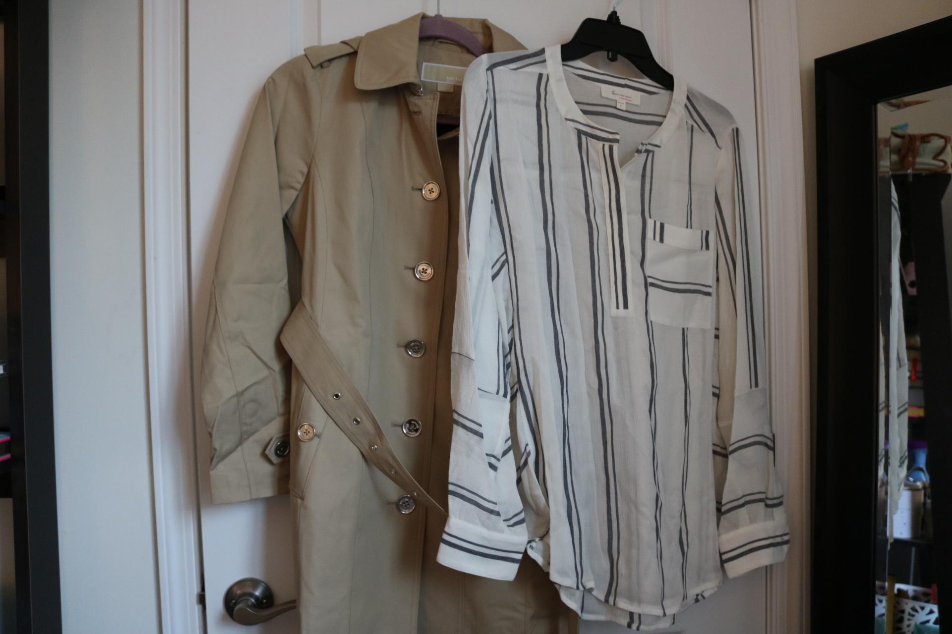 nordstrom haul, nordstom anniversary sale haul, michael kors trench coat, striped blouse