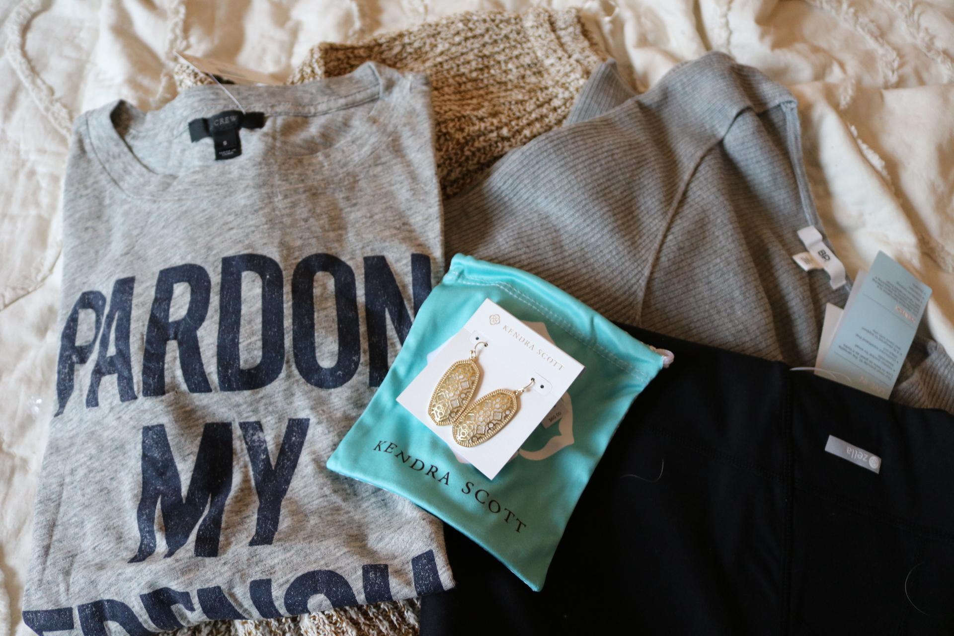j crew graphic t-shirt, pardon my french shirt, zella live in leggings, free people sweater, kendra scott earrings
