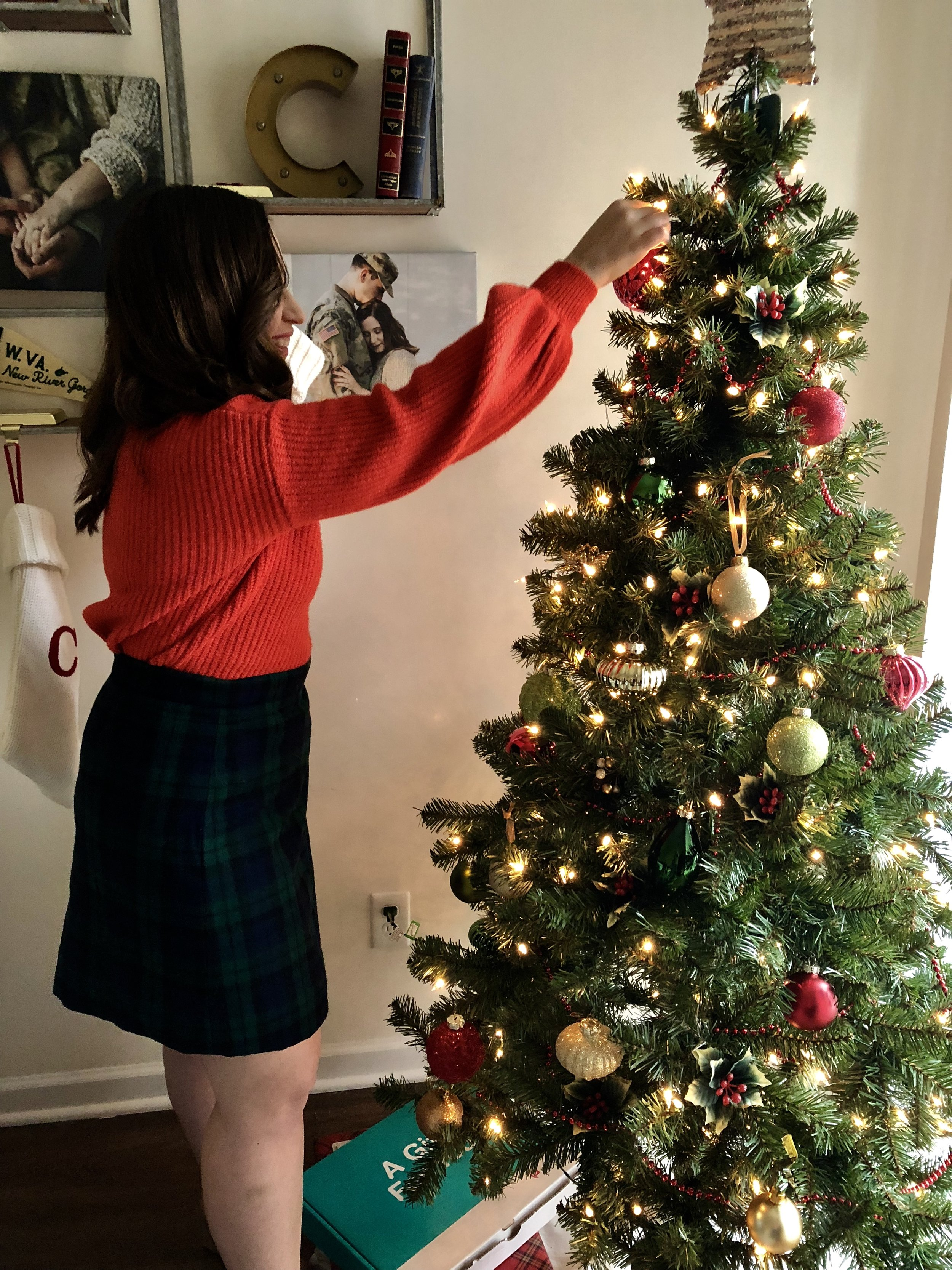 red sweater outfit ideas, plaid skirt outfit ideas, holiday outfit ideas, christmas outfit ideas, instagram outfit ideas, winter outfit ideas