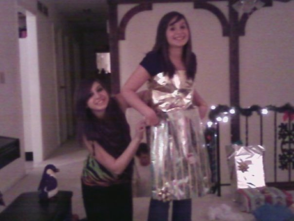 My cousin Donna and I participate in our family's version of Project Runway.