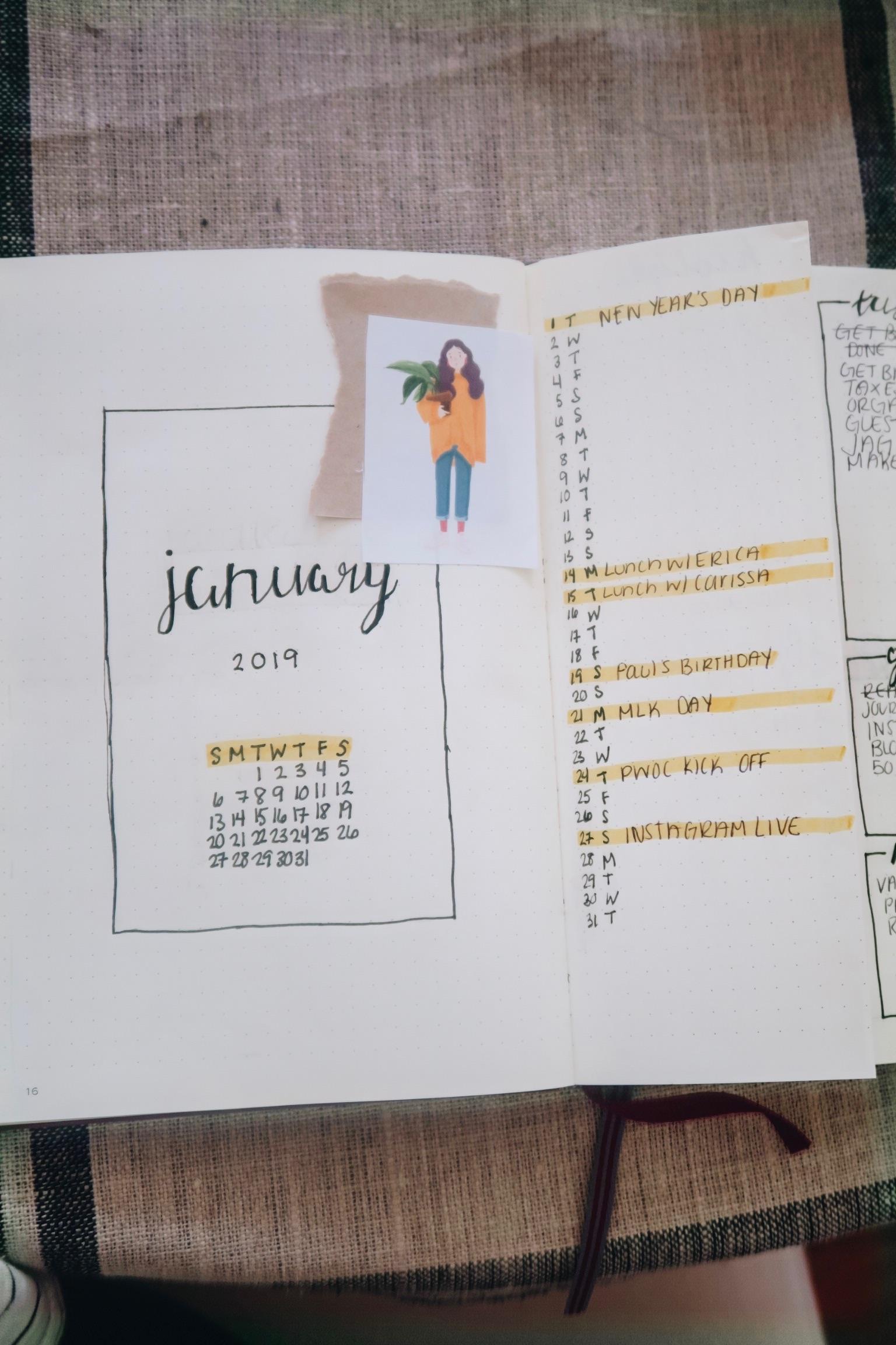 2019 Bullet Journal Setup | Monthly Spread