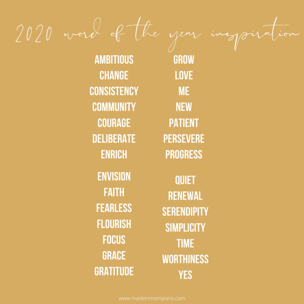 Made in Mom Jeans 2020 Word of the Year Inspiration