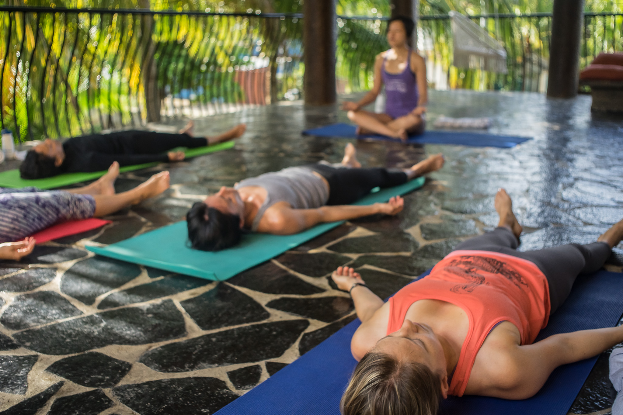 Yoga on the terrace at our accommodations. Photo credit: Jim Hill