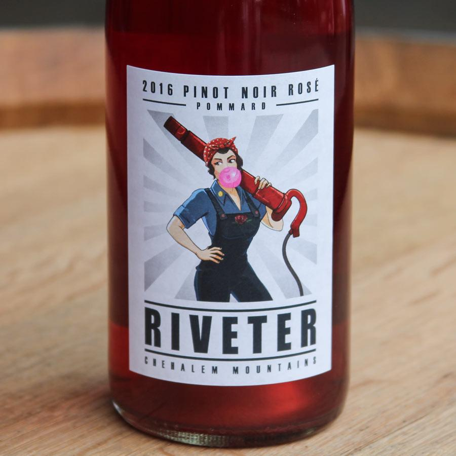 "The 2016 (now sold out) & the 2017 ""Riveter"" Rose is made by Dauntless Wine company with 100% Jesse Estate Fruit."