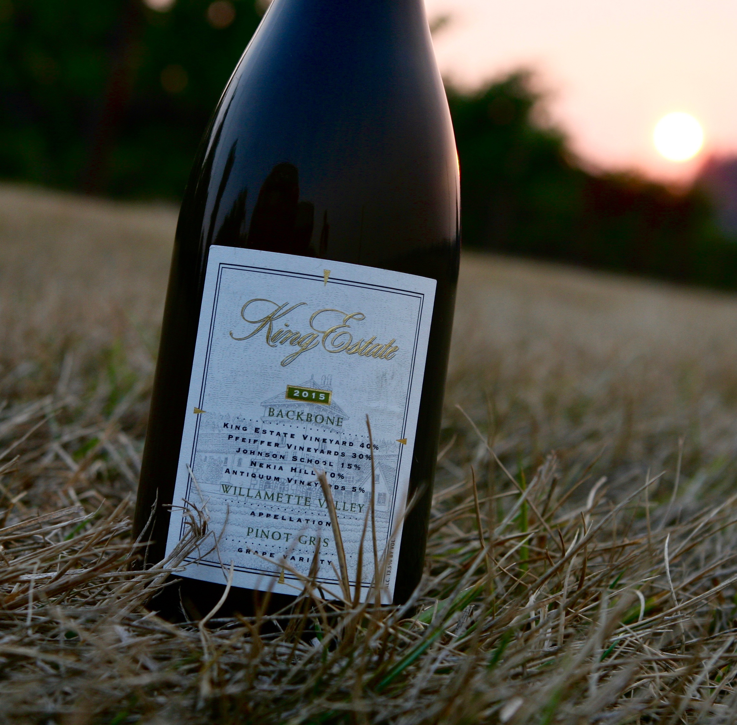 The 2014 & 2015  Backbone Pinot Gris from King Estate was made with fruit from our Johnson School vineyard as well as other from other vineyards across the state. The 2014  scored a 91 and the 2015 a 92 by Wine Enthusiast.