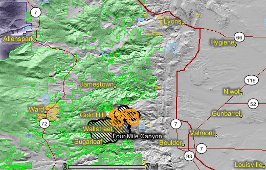 Map of the Fourmile fire near Boulder, showing heat detected by the MODIS satellite at 4:18 a.m. Sept. 8, 2010. Map by Wildfire Today and NASA. Credit: Wildfire Today.