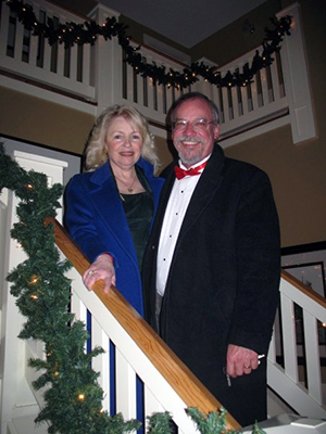 Here's me with my wife, Eileen, at a friend's Christmas party.