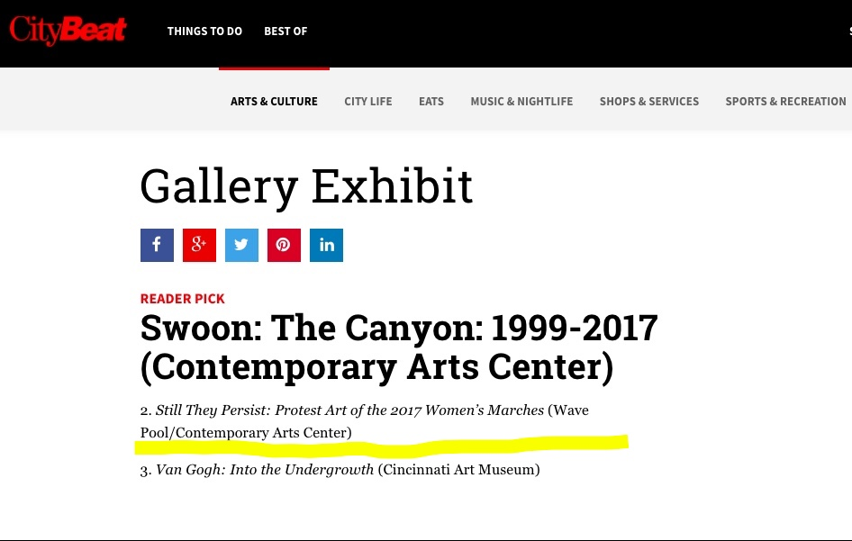 Voted by CityBeat Readers  as the #2 top Gallery Exhibit of 2018.
