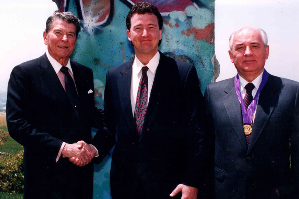 John Brown with Ronald Reagan and Mikhail Gorbachev, 1993