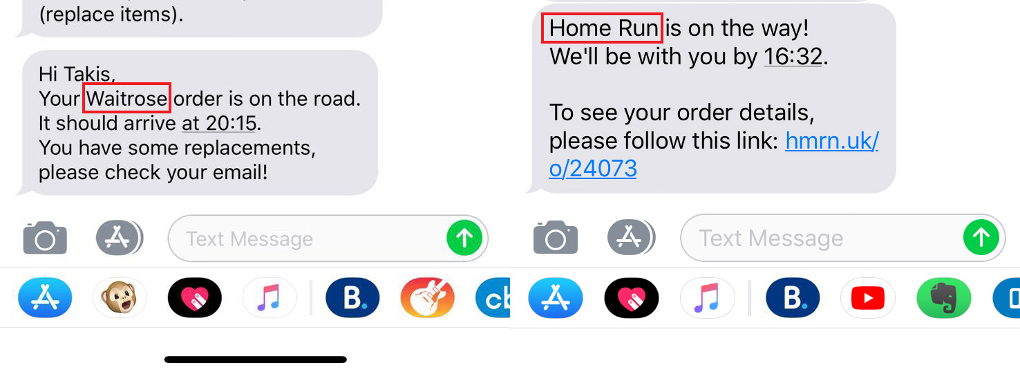 Old > New  At Home Run we deliver groceries from UK's favourite supermarkets, but including another brand in our update SMS wasn't helping us either to gain top-of-mind-awareness or to distill the brand associations that we have developed over the years.