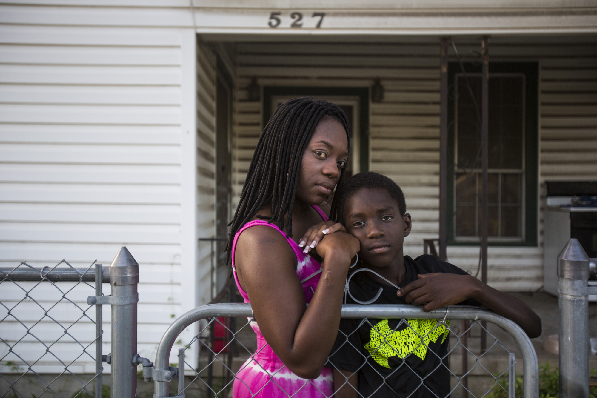 """Megan Blair, 31, a single mother, with her son William Navarro, 11, at their home in San Antonio on July 8, 2016. """"Our parents never had conversations with us about how to react when a cop pulled you over, you know what to say, where to keep your hands and now I'm having those conversations with him,"""" Blair said. """"I don't feel like anyone deserves what we just recently saw in the media. However, I do tell him at your best you always wanna make sure that you don't draw attention to yourself, you know, always make sure that you look appropriate, make sure that your pants are hanging down. Like I said, that doesn't warrant somebody being killed but now days you kind of have to."""""""
