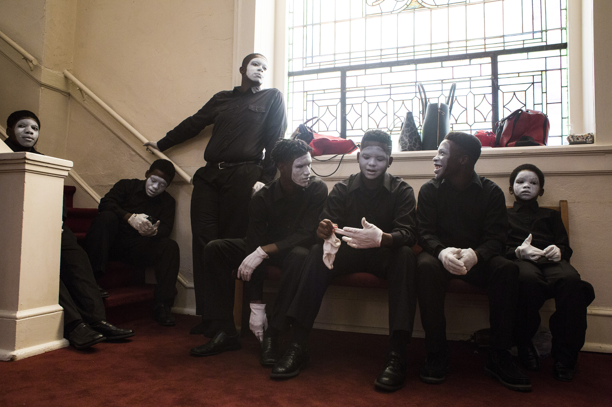 Members of the Signs of Praise Mime Ministry wait for their performance cue during the morning service at Big Bethel AME Church in Atlanta, Ga., on September 20, 2015. The boys perform on a monthly basis under the direction of Kawanza Smith, an advisor and long time member of Big Bethel.