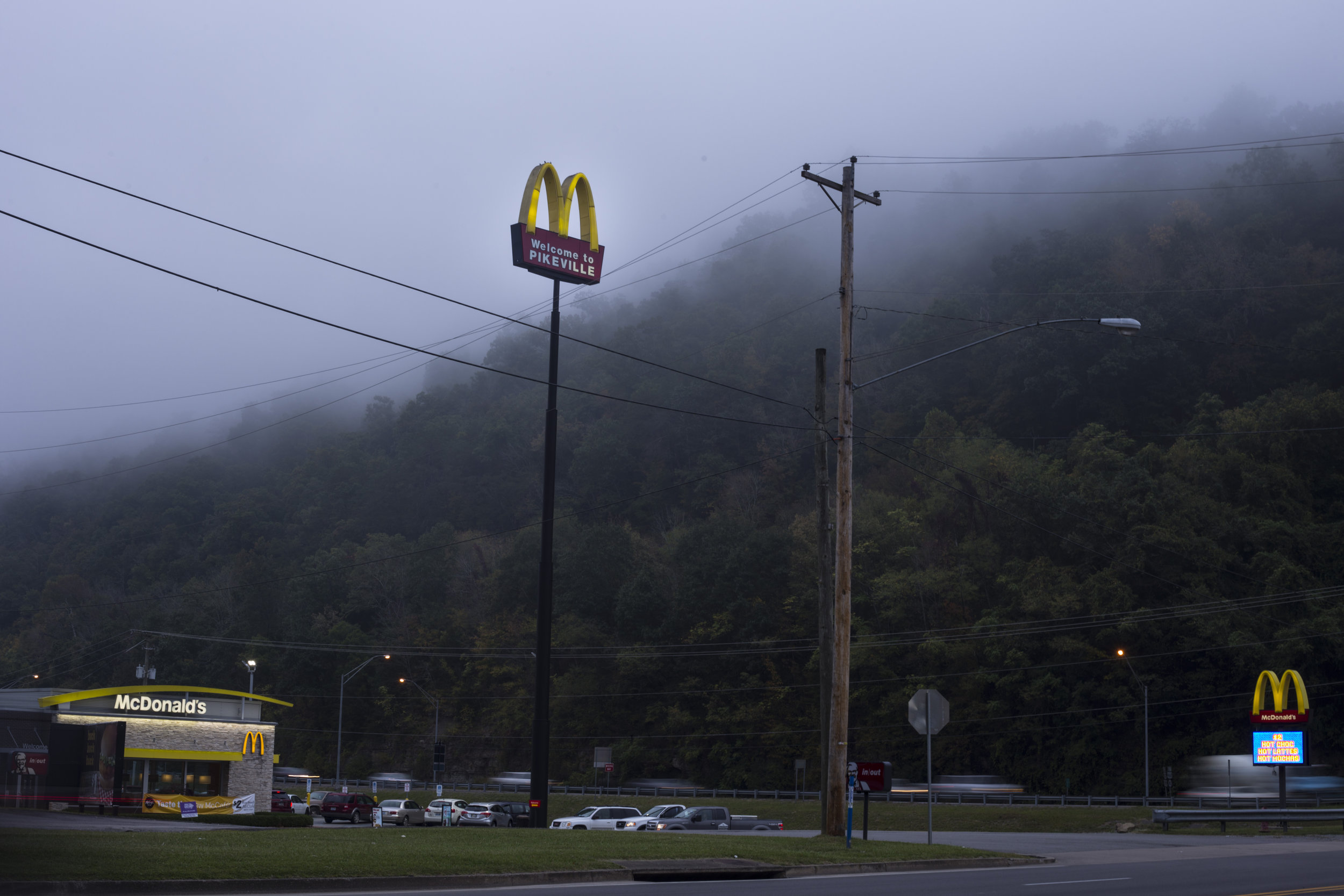 A McDonalds is seen greeting visitors to Pikeville, Ky., on Friday, September 22, 2017.