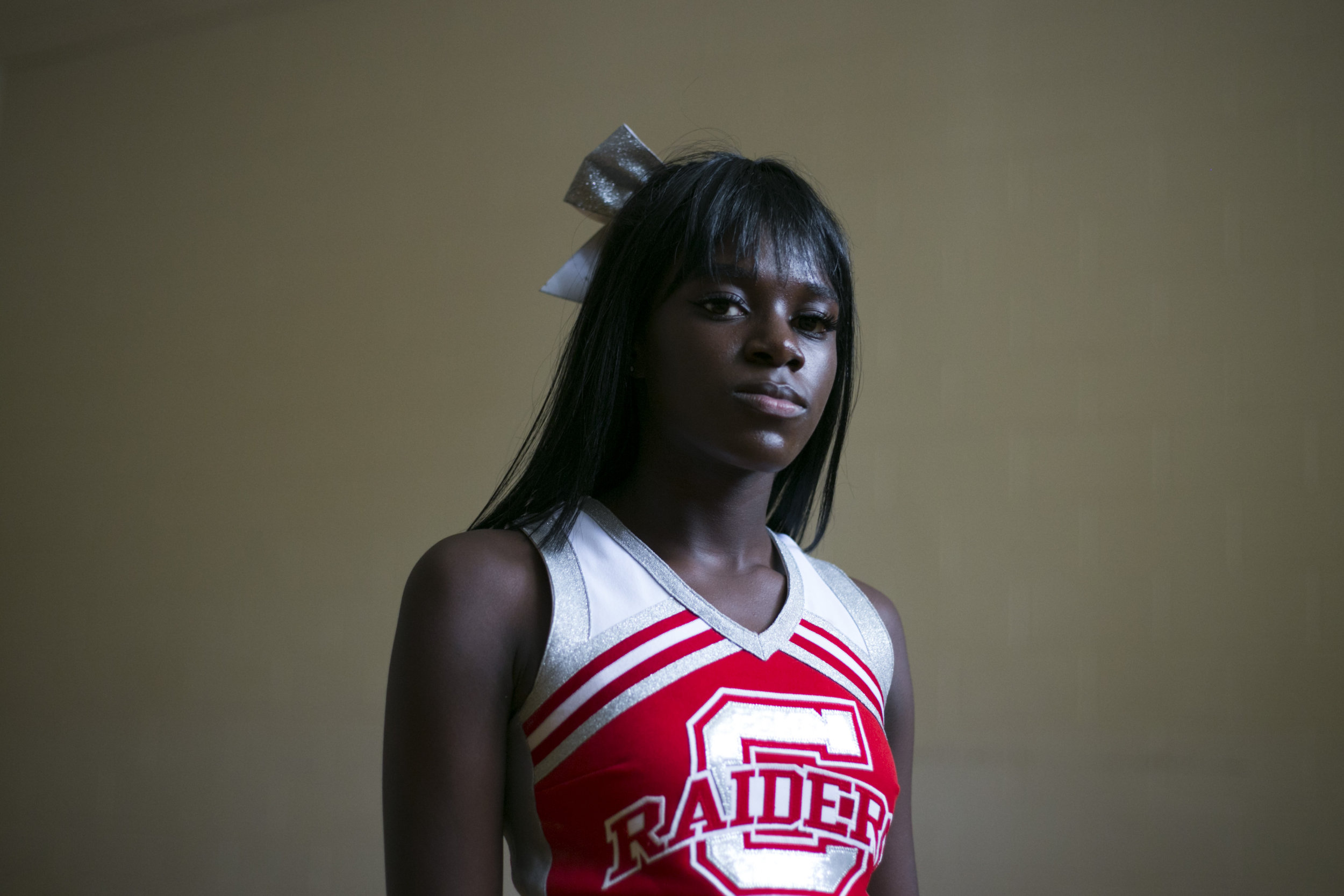 London Gladden, 17, during cheerleading practice at the High School of Commerce in Springfield, Mass., on Friday, September, 8, 2017.