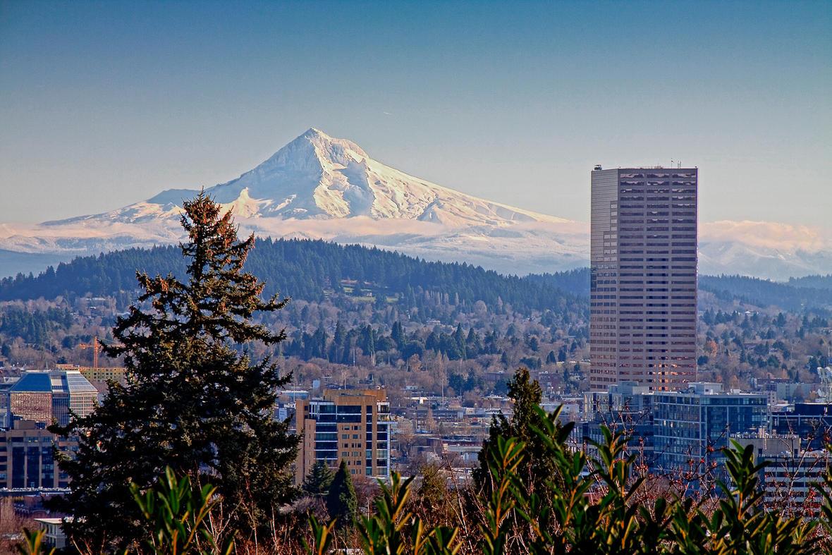 Mt. Hood and Downtown Portland, Oregon