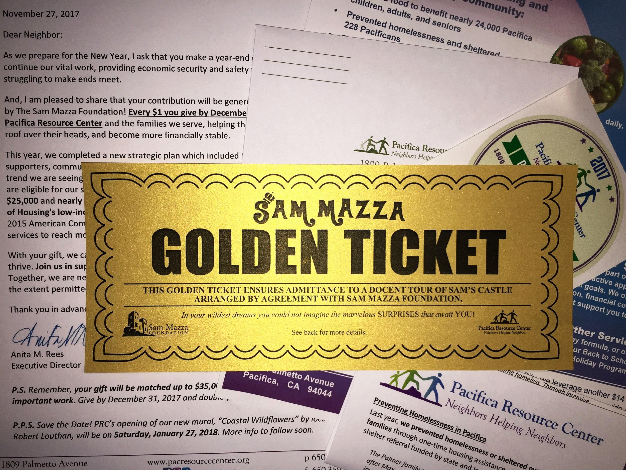 THIS GOLDEN TICKET ENSURES ADMITTANCE TO A DOCENT TOUR OF SAM'S CASTLE ARRANGED BY AGREEMENT WITH SAM MAZZA FOUNDATION. - In your wildest dreams you could not imagine the marvelous SURPRISES that await YOU!