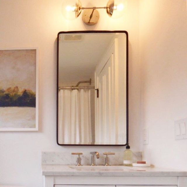 ... we're so happy with how the upper level bath came together at the Murray Bungalow ... fresh, clean, & light ... see more on the blog ( www.dailyhomeco.com/journal ) ... | 📷 :  @dailyhomeco