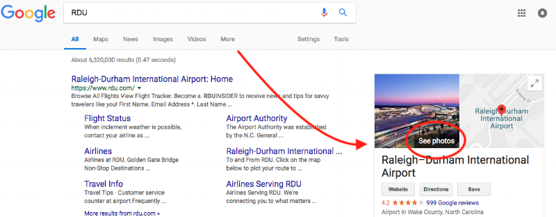 Google Search Results for RDU. Showing how to access Google Street View tour.