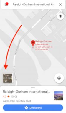 Screenshot from Mobile Google Maps App