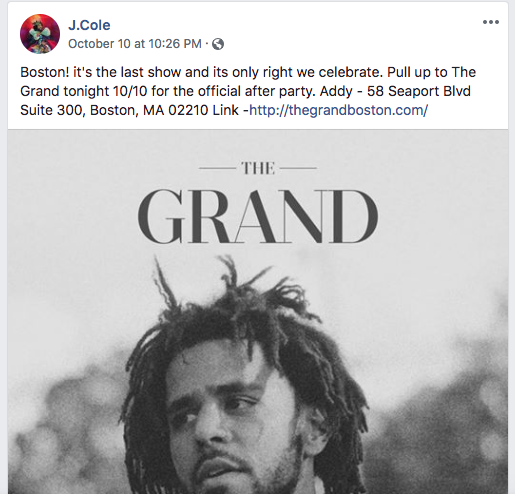 A J. Cole concert announcement on Facebook.