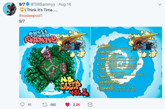 Trill Sammy's No Sleep 360° album cover release on his Twitter feed