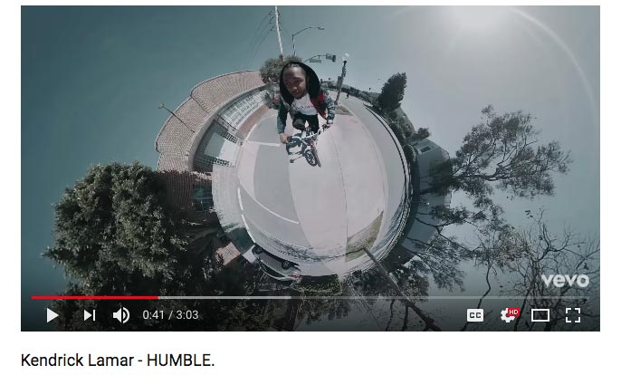 As you can see in this shot, Kendrick looks like he has a big head. A thoughtful use of 360 video that plays with the title of the song, HUMBLE… hard to be humble with a big head, eh? ;)