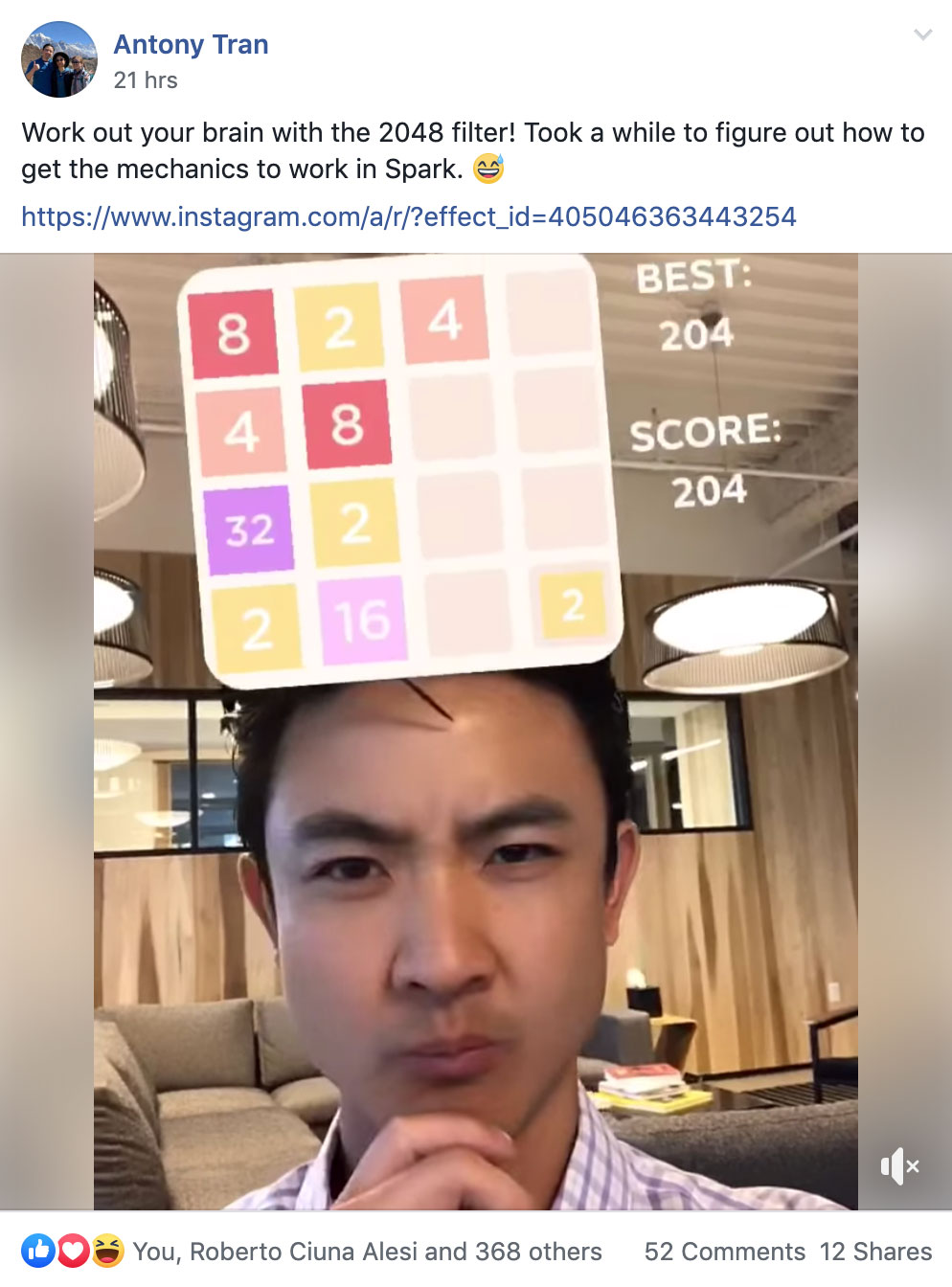 Antony Tran demoing his new filter to the Spark AR Community