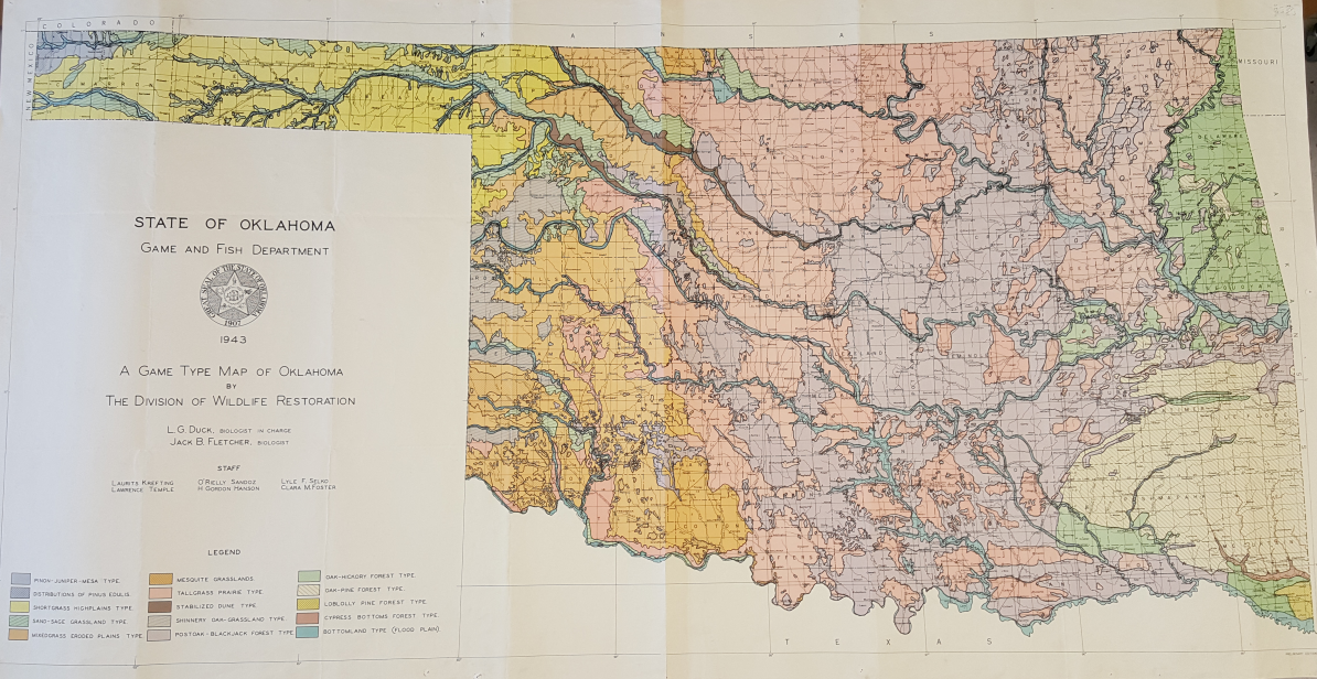 A Game Type Map of Oklahoma  (Duck & Fletcher, 1943) – the Cross Timbers are indicated by  a light purple hue. This copy was loaned from the Oklahoma State University Library Map Room.
