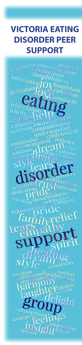 Who Are We? - Victoria Eating Disorder Peer Support Group was created in 2015 by Sally Chaster and Elise Slaughter. We offer a free, weekly drop-in group in Victoria, B.C.We meet every Monday from 6:30 to 8pm in Room C701in the Patient Care Center at the Royal Jubilee Hospital, the building on the corner of Bay and Richmond.Group is intended to be a safe, nurturing environments for adults struggling with eating disorders to explore and hear new ways of understanding and processing their behaviours.We support adults aged 18+ who struggle with eating disorders, disordered eating, or any other struggles with food, exercise, or body image that affects quality of life or interferes with day to day living. Members who do not have a diagnosed eating disorder (either from not seeking help, or not being able to access help), but who have a troubled relationship with food and/or body, are completely welcome here. We aim to provide a safe, non-judgmental space for all.It should be noted that we are not clinicians and we encourage individuals to seek professional support if it is something they are open to. As peers, our facilitators are individuals who are in various places of recovery themselves (some fully recovered, some still in the process of recovery). We are conscious that this may not suit the needs of every attendee and again, we encourage seeking out professional supports.Guidelines• This group is free, and is open to any person 18 years or older who struggles with an unhealthy relationship with food and their body that impacts quality of life and the ability to function.• Eating disorders include restrictive behaviours, bingeing behaviours, purging behaviours - whether after a binge or not – which may include self-induced vomiting, misuse of diet pills and/or laxatives, and compulsive exercise (anorexia nervosa, bulimia nervosa, binge eating disorder and otherwise-specified feeding and eating disorder [OSFED]).• Any group member who indicates they are at risk of suicide, self-harm or harming another person will be referred to emergency health services.• Please turn cell phones off during meetings, or set to vibrate if you have a pressing need to be accessible. Please leave the room if you must answer a call.Logistics:The group currently takes place every Monday from 6:30 to 8:00 p.m. in Room C701 (the 7th floor, across from the elevators) in the Patient Care Centre, Royal Jubilee Hospital. Space is limited to 15 participants.Group ProcessesThis group is based sometimes on deeper check-ins, and times open talk on subjects chosen by the group and is not a 12-step group. Some groups begin with a two to three minute check-in for each member, other groups go directly to open talk. The peer facilitator with work to ensure everyone in included and welcomed.Members are encouraged to expand on any successes, strategies they tried during the week and how they worked, or thoughts and behaviours they are struggling with. The goal is to hear from as many people as possible, with each of us engaging in honest reflection and providing supportive and thoughtful feedback.Members try to set realistic and achievable goals at the end of the group to work on during the next week. Members can also use this time to talk about how they are feeling at this time. Leaders will remain available for a limited time after the group ends for members who are feeling the need for additional closure of the meeting.It is important to note that our facilitators are in various stages of recovery themselves - some identify as recovered and some are still in the process of recovery.