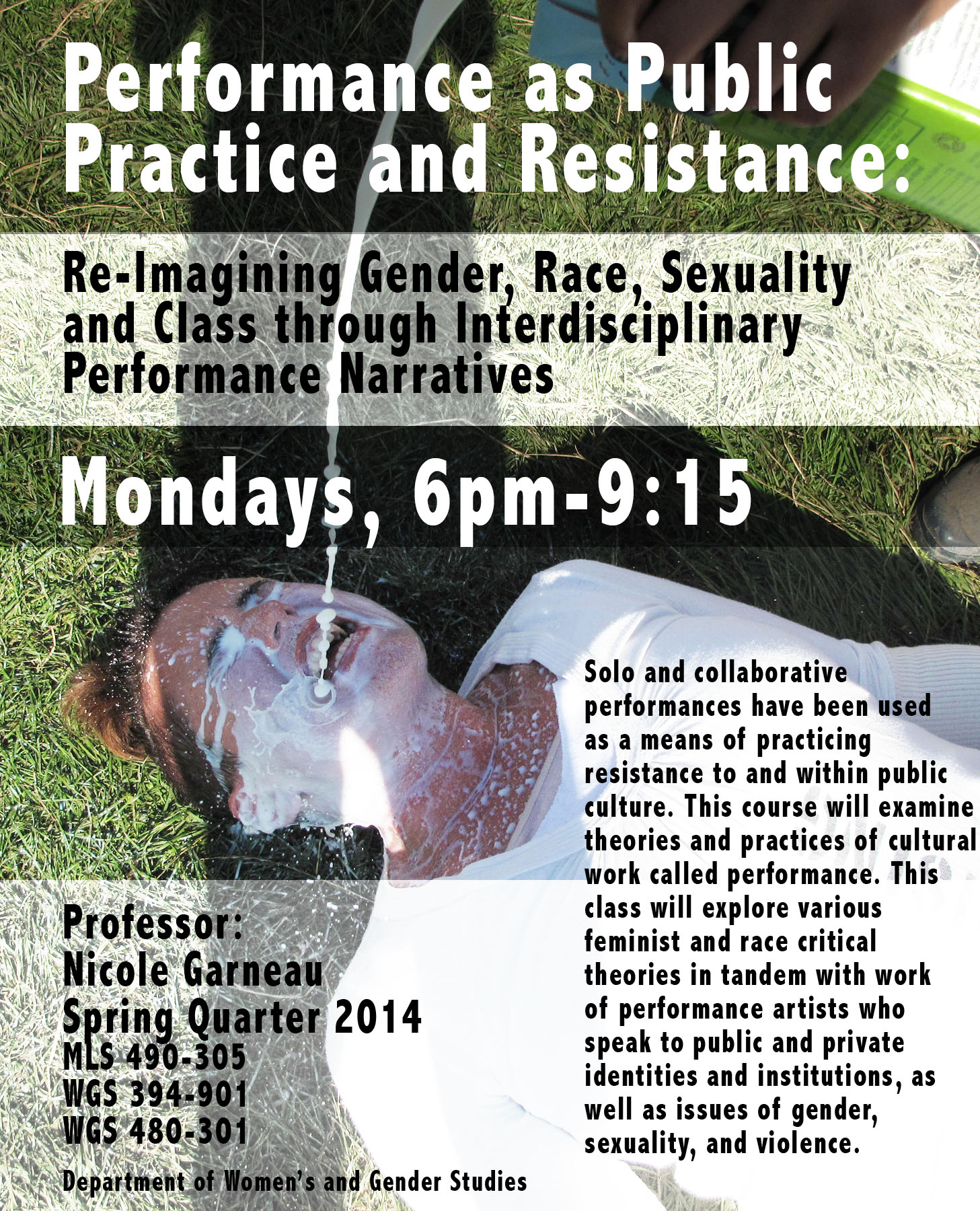 """Flyer for course, """"Performance as Public Practice and Resistance,""""  Women's and Gender Studies Department , DePaul University Chicago."""