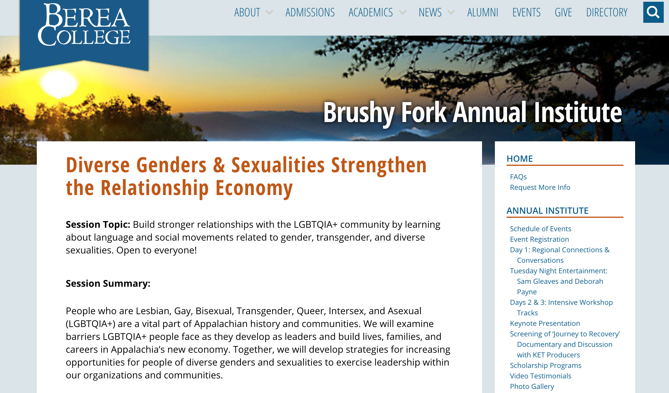 Workshop offered as part of the 2017  Brushy Fork Institute  at Berea College in Kentucky: Diverse Genders & Sexualities Strengthen the Relationship Economy.