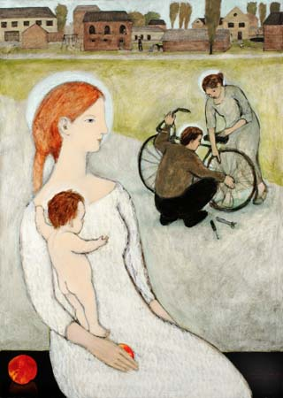 Mother and child  with Saints fixing a bicycle