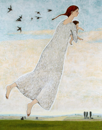 Woman with infant flying