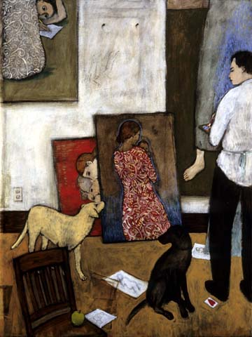 dogs with paintings of women