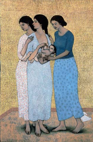 Mother and child with companions