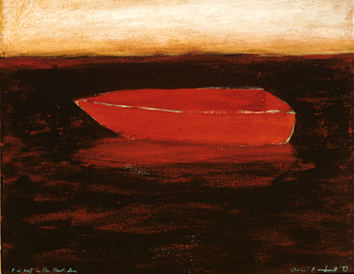 Red boat on the Black Sea