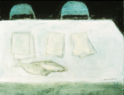 Still life with papers and fish