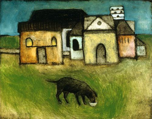 Dog & buildings