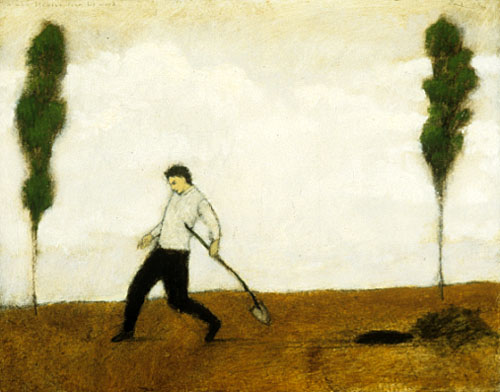 a man fleeing from his work