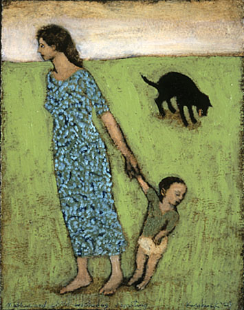 Mother and child with dog vomiting