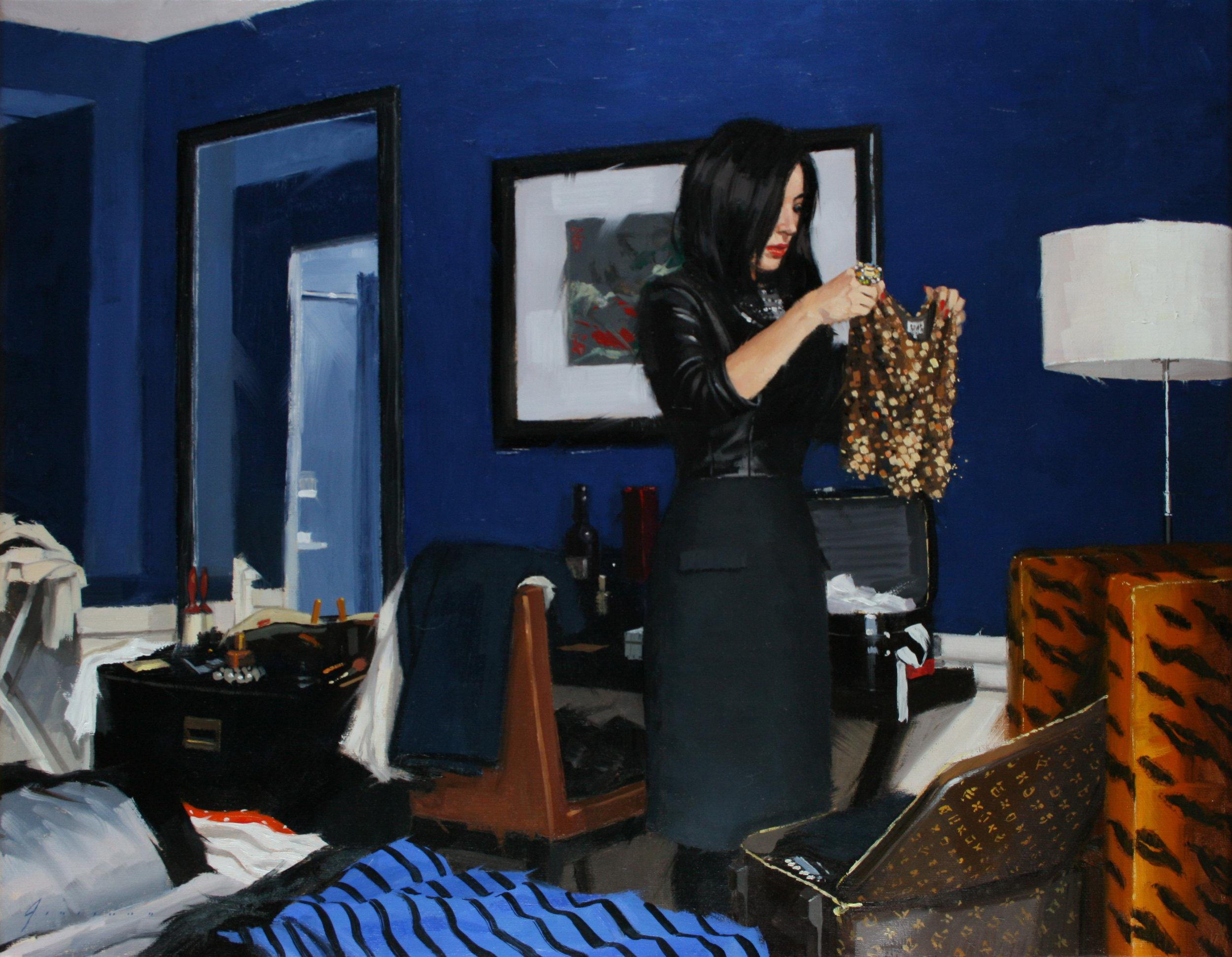 Aureta Packing at the Empire   oil  16 x 20