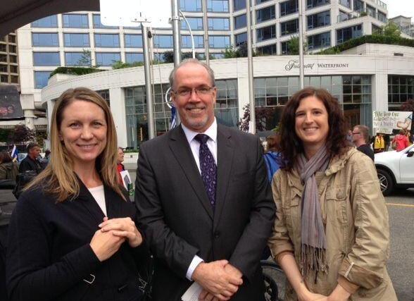 Meeting NDP MLA John Horgan at the BCTF teachers rally.