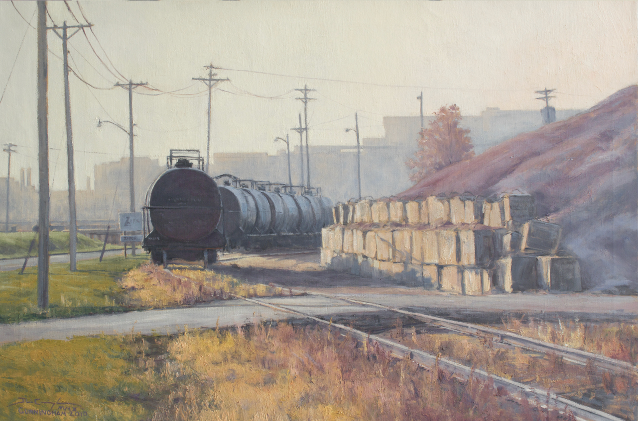 """Along the Line""  24""x36"" Oil on Linen, Collection of Cafesjian Art Center   First Place  Poster Competition Award  St. Paul Art Crawl, Fall 2010"
